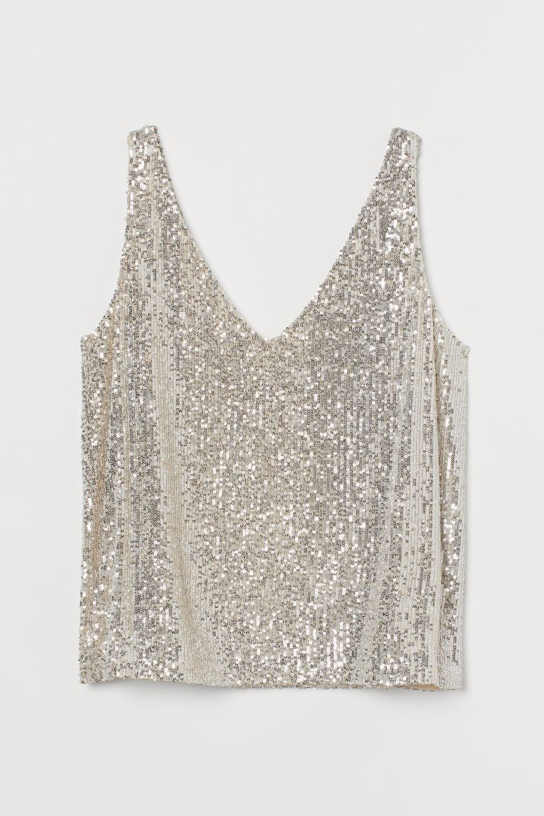H&M+ Glittery Top - Light beige - Ladies | H&M US