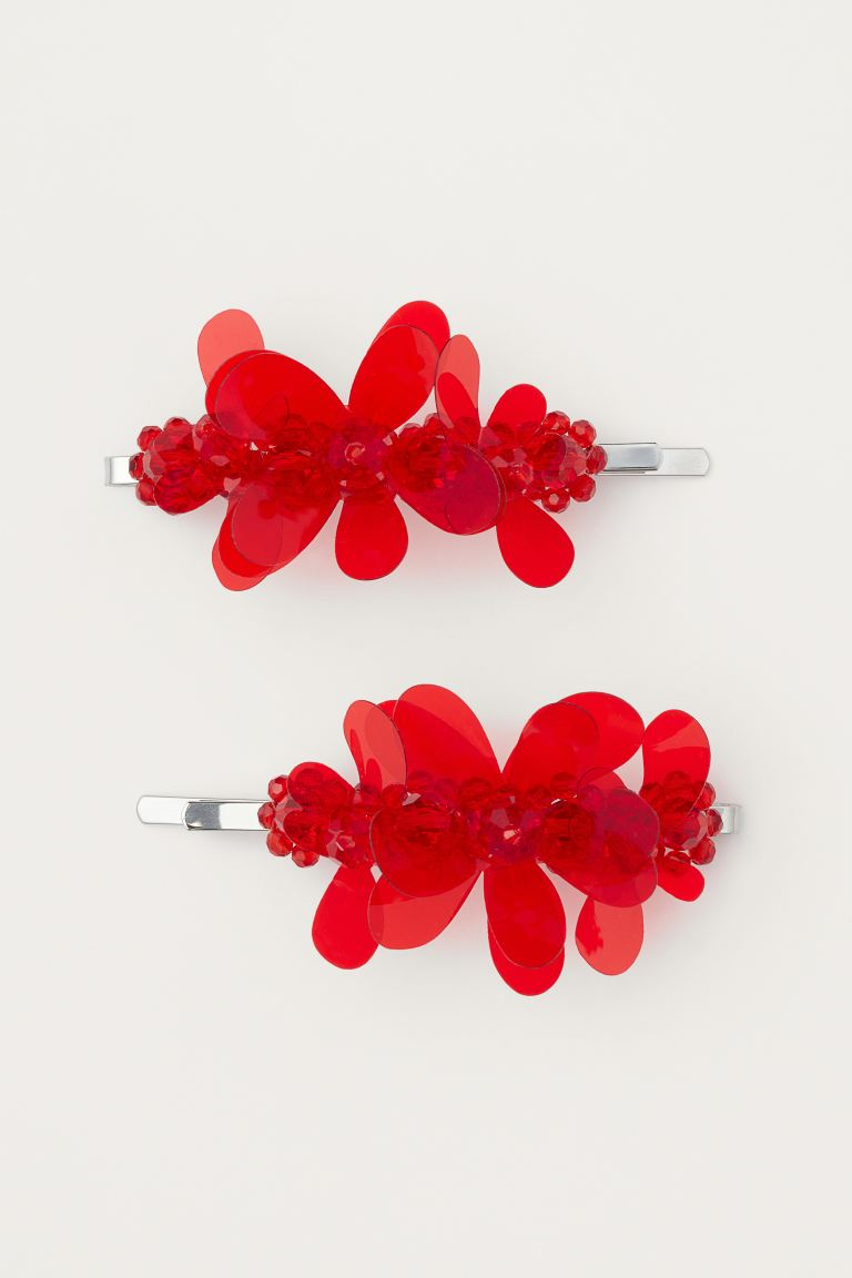 2-pack Decorated Hairpins - Red - Ladies | H&M US