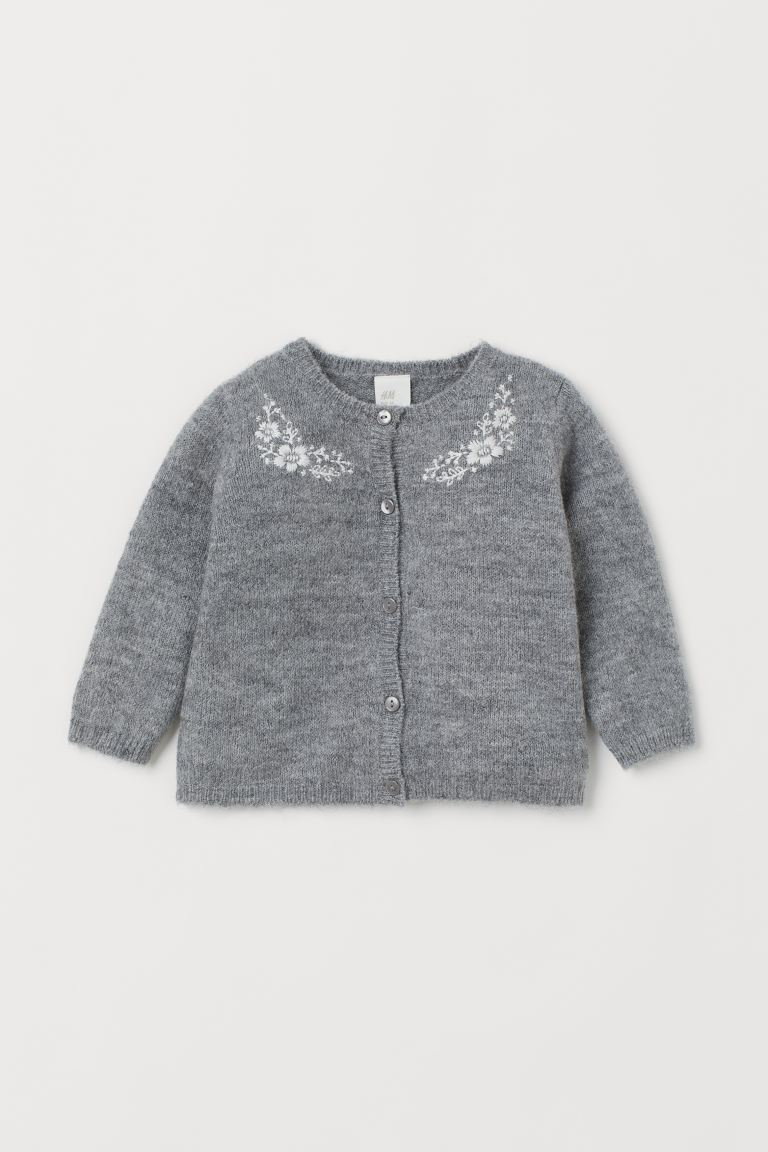 Embroidered cardigan - Grey marl - Kids | H&M GB