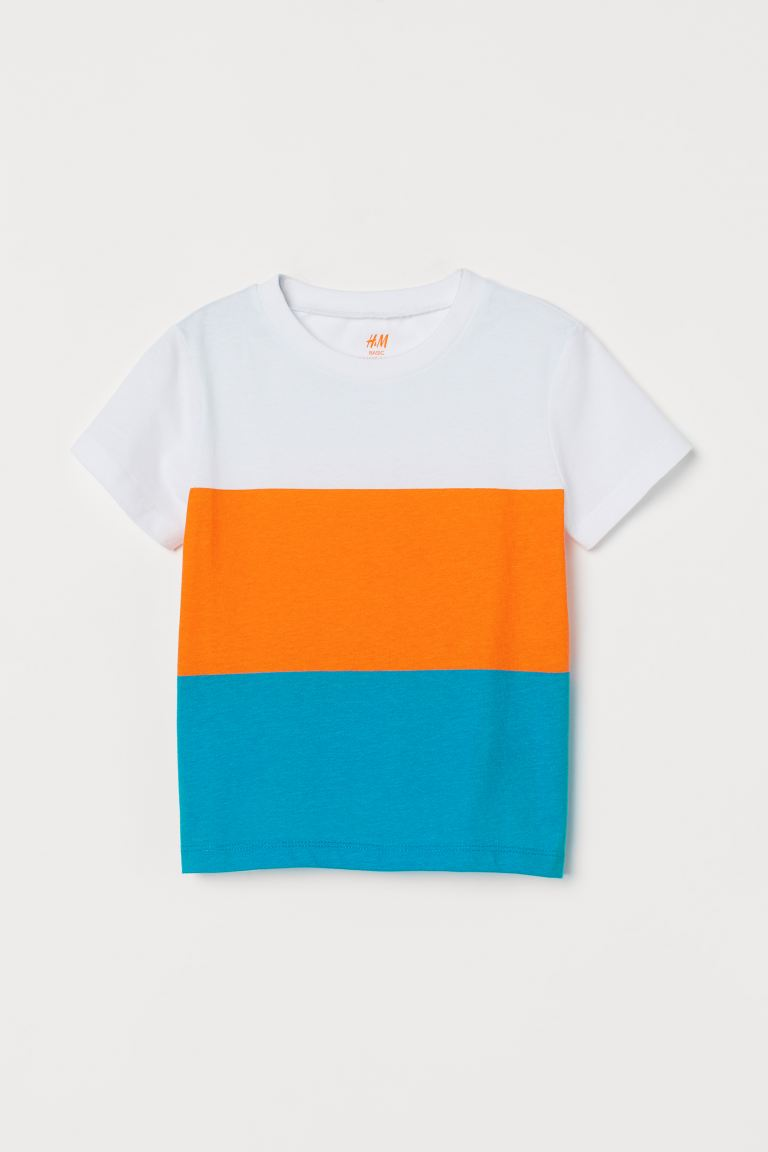 Cotton T-shirt - White/Block-coloured - Kids | H&M IN