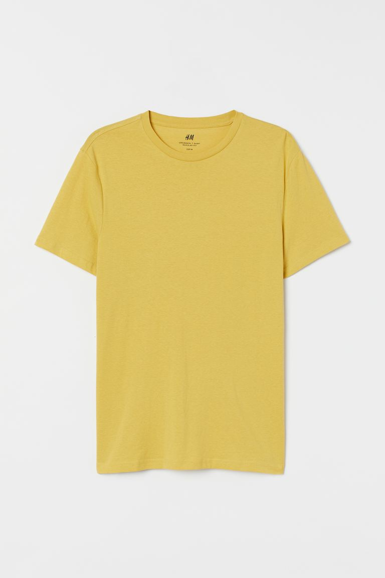 Regular Fit Crew-neck T-shirt - Yellow - Men | H&M CA