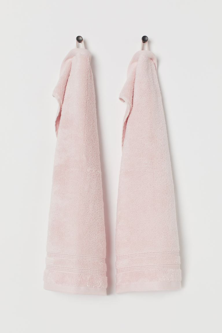 Lot de 2 essuie-mains en coton - Rose clair - HOME | H&M CH