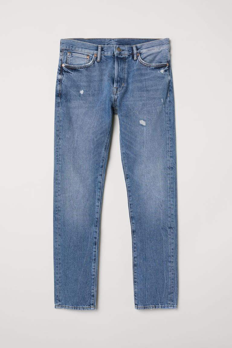 Slim Straight Jeans - Denim blue/Trashed - Men | H&M