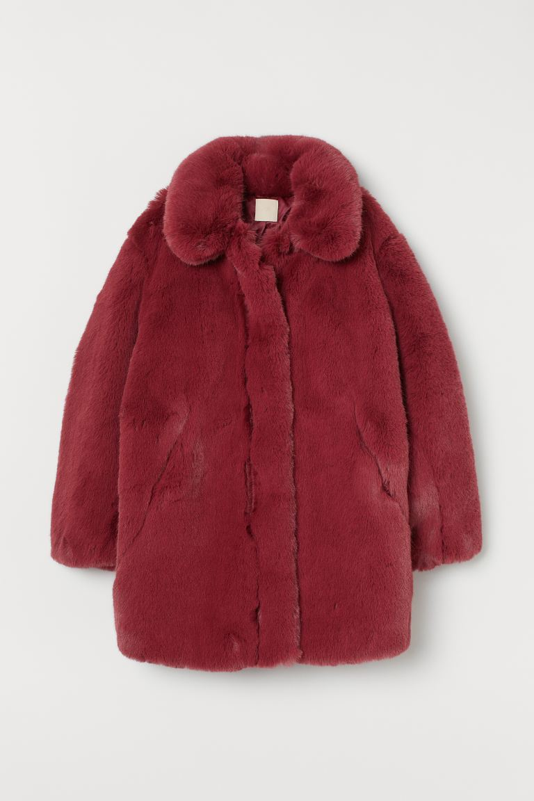 Faux Fur Jacket - Dark red - Ladies | H&M US