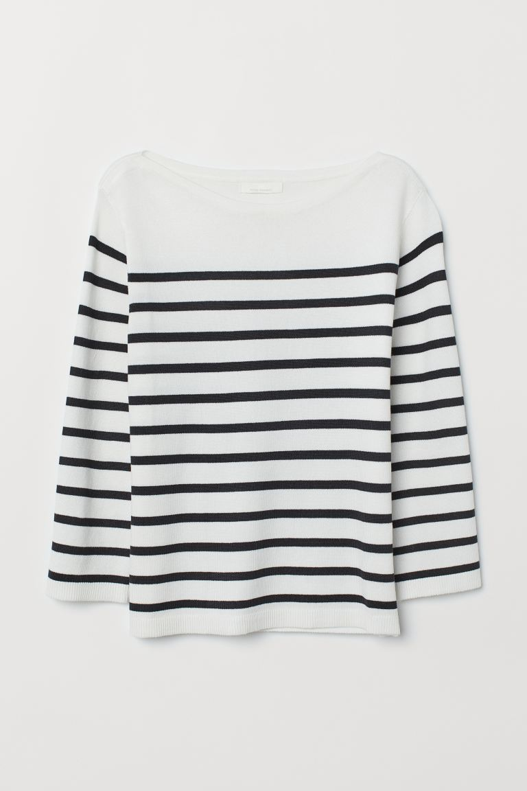 Fine-knit Sweater - White/dark blue striped - Ladies | H&M CA