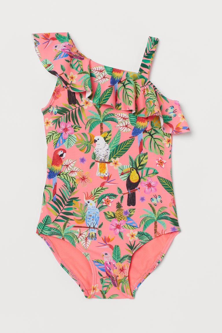 Patterned flounced swimsuit - Neon pink/Rainforest - Kids | H&M GB