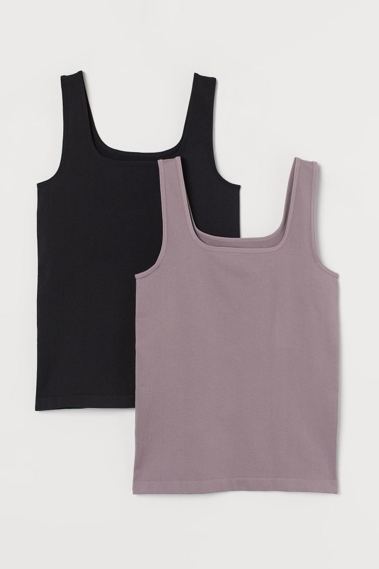 2-pack Sports Tank Tops - Heather purple/black - Ladies | H&M US