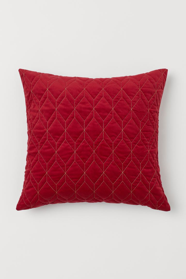 Velours kussenhoes - Donkerrood - HOME | H&M BE