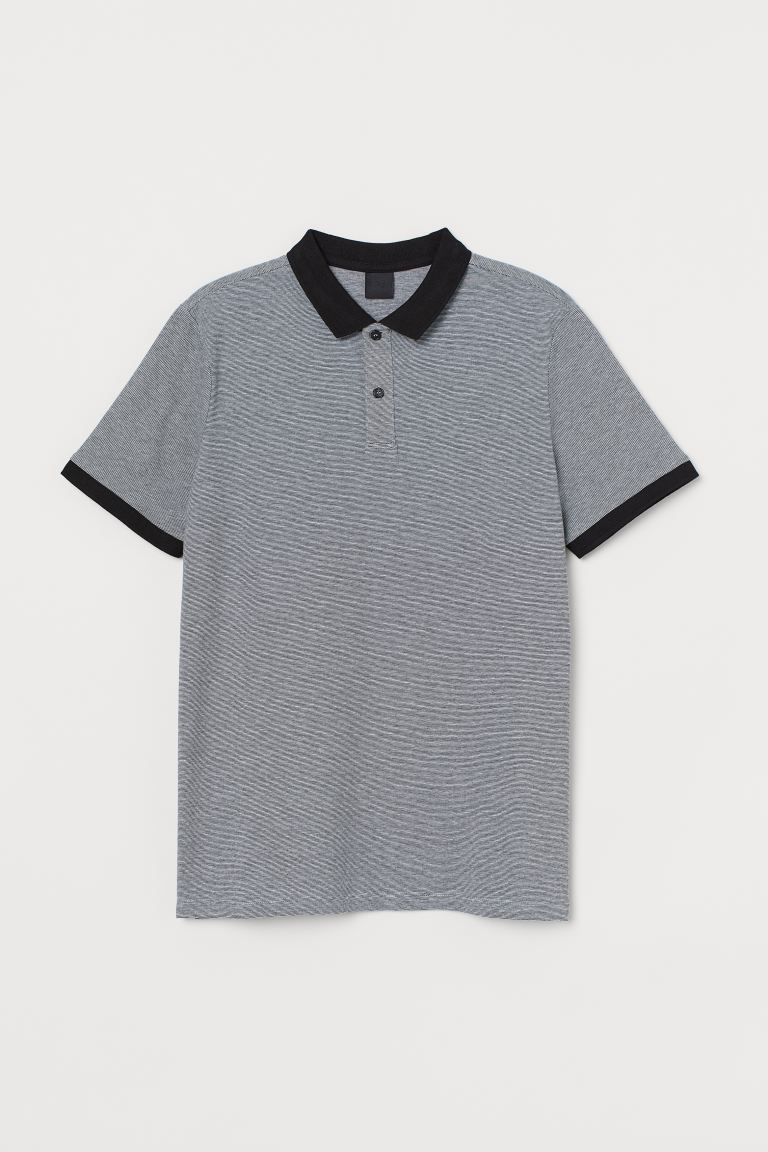Slim Fit Polo Shirt - Black/narrow-striped - Men | H&M CA