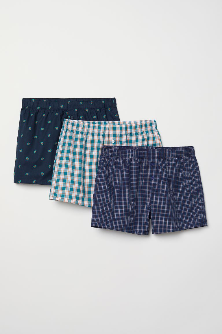 3-pack Woven Boxer Shorts - Dark blue/patterned - Men | H&M CA
