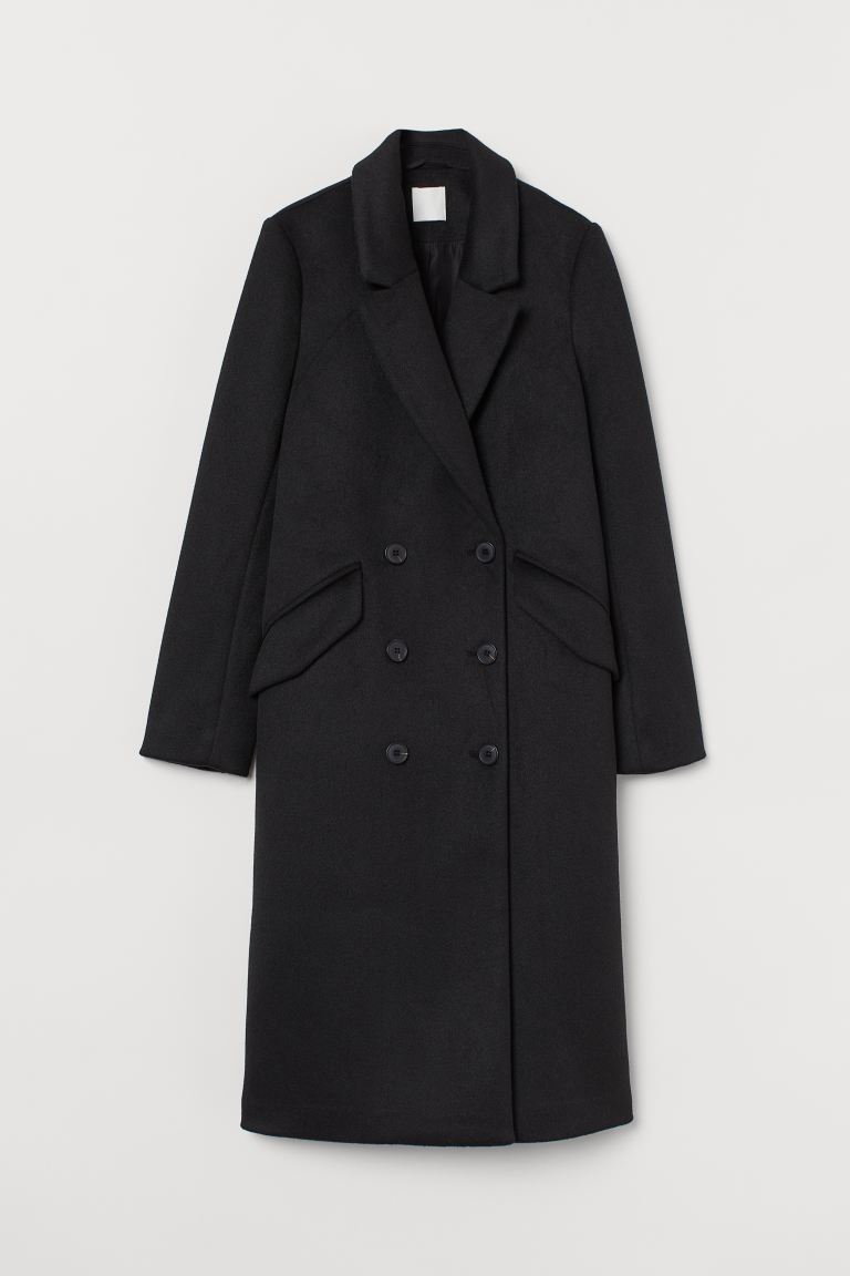 Double-breasted Coat - Black - Ladies | H&M US