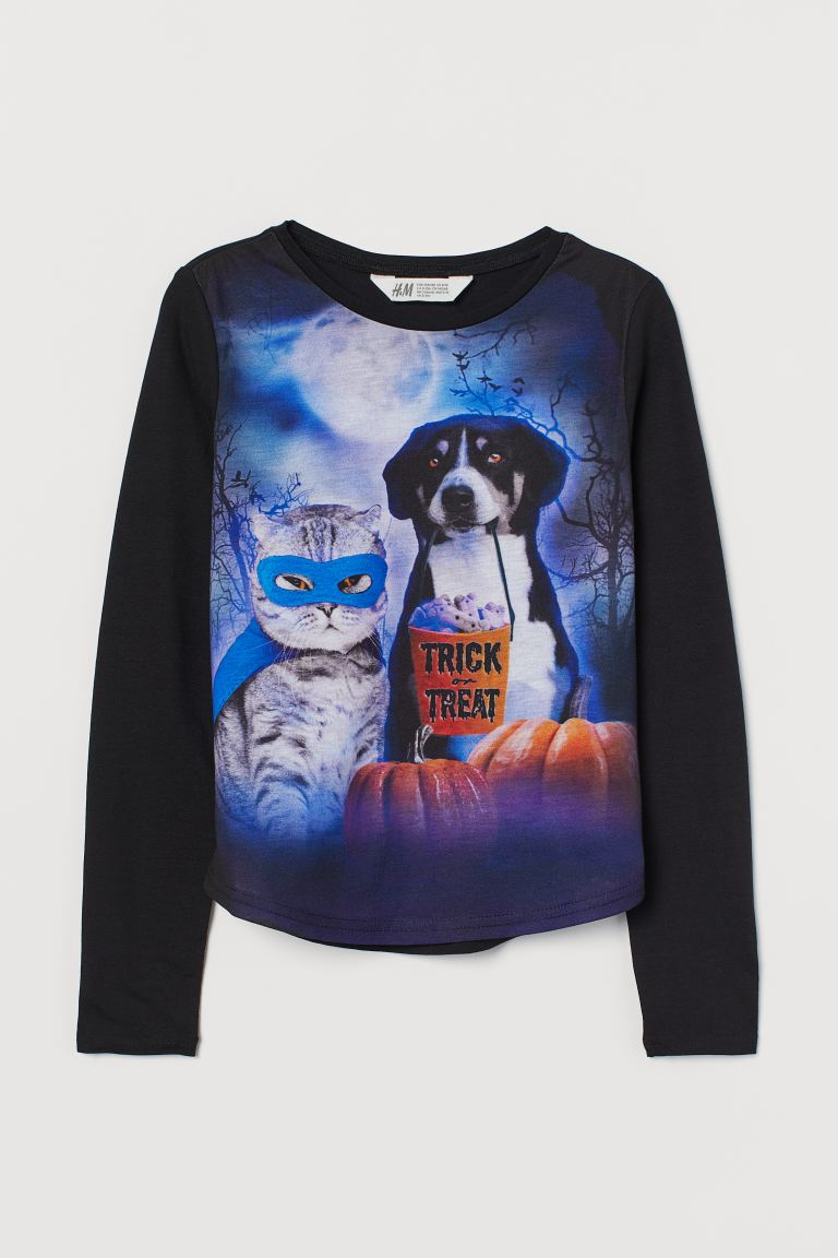 Printed jersey top - Black/Trick Or Treat - Kids | H&M GB 1