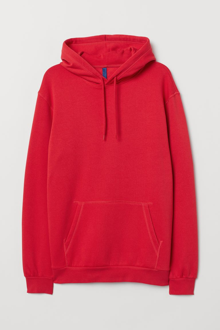 Sudadera con gorro Relaxed Fit - Rojo intenso - Men | H&M US