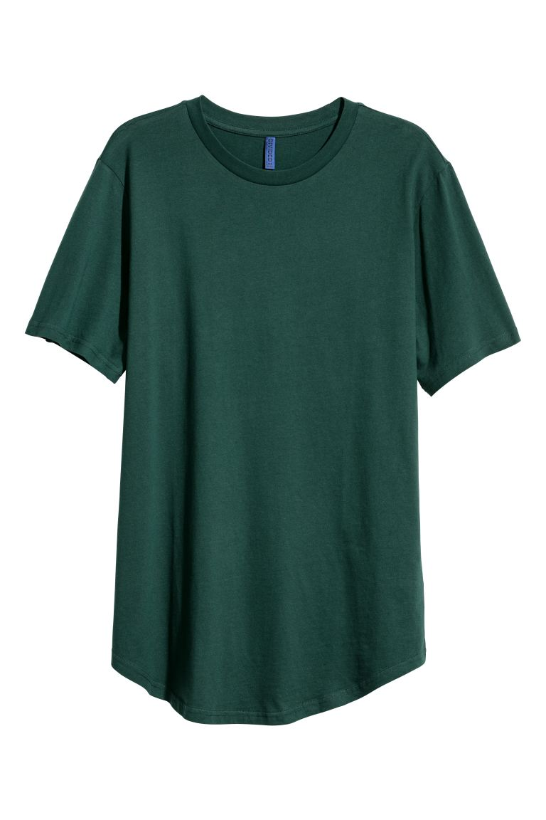 Long Fit T-shirt - Dark green - Men | H&M CA
