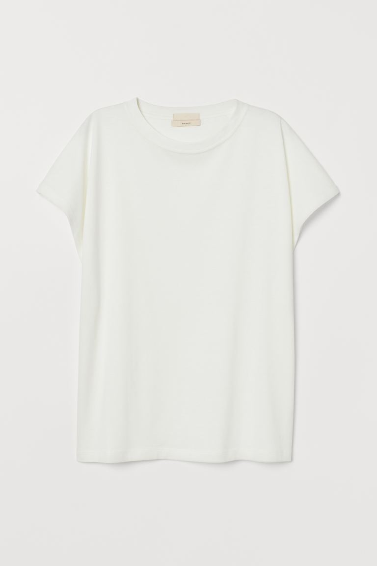 Silk-blend T-shirt - Cream - Ladies | H&M