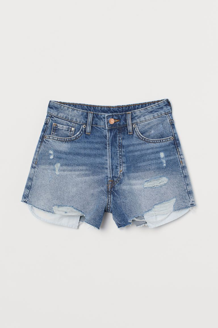 Denim Shorts High Waist - Denim blue/trashed - Ladies | H&M US