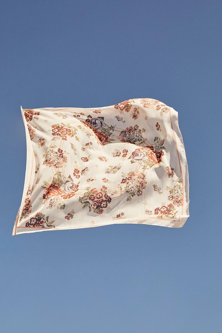 Patterned scarf - Cream/Floral - Ladies | H&M GB