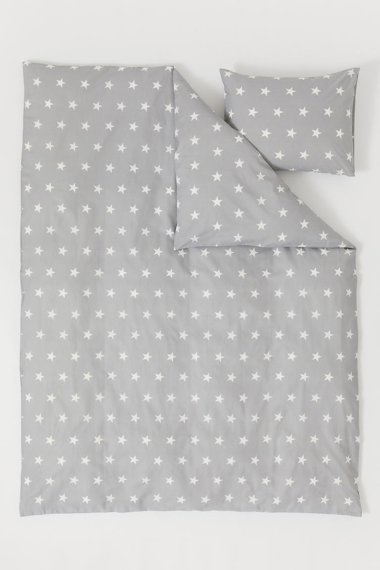 Patterned Duvet Cover Set - Light gray/stars - Home All | H&M US