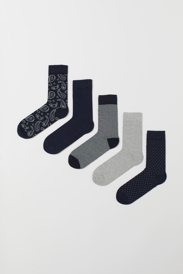 5-pack socks - Dark blue/Paisley-patterned - Men | H&M IN