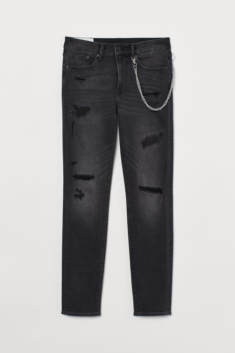 Skinny Jeans With Chain Black Men H M Us