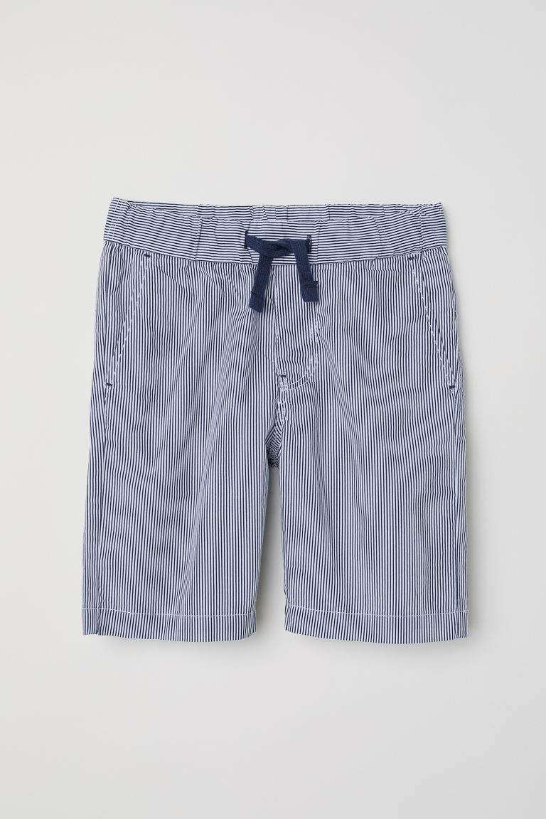 Cotton shorts - Dark blue/White striped - Kids | H&M GB
