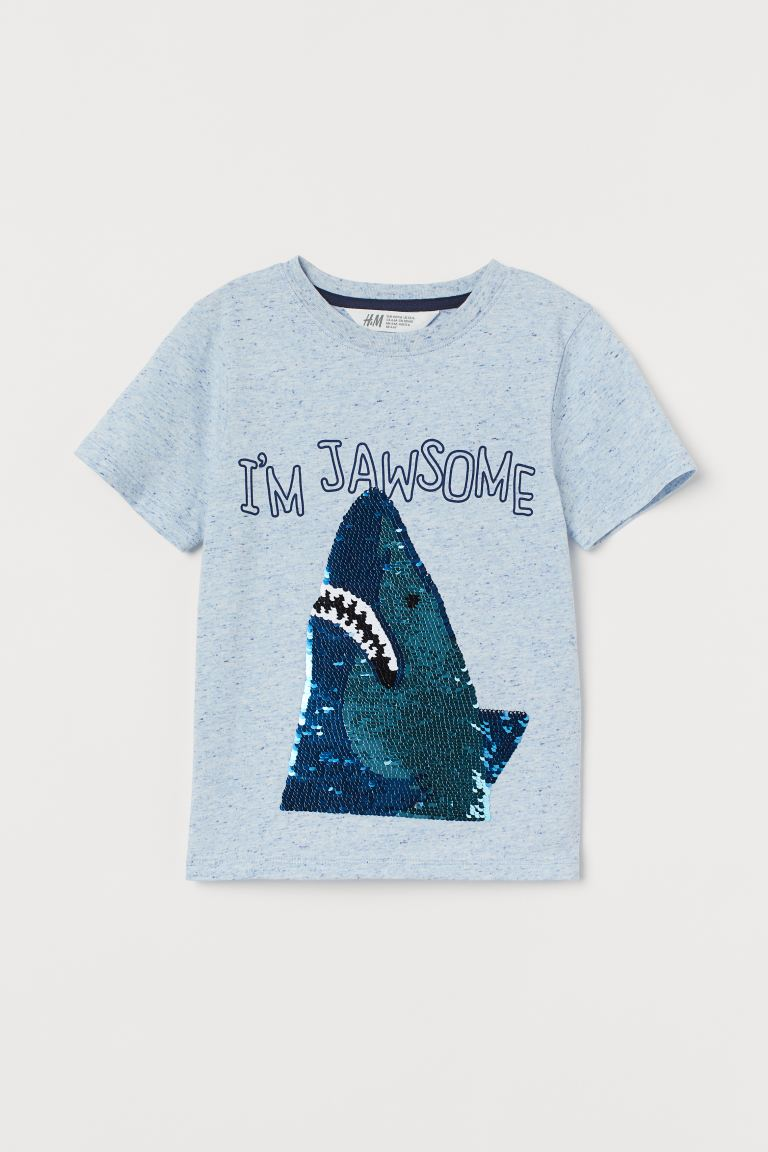 Reversible sequin T-shirt - Blue marl/Shark - Kids | H&M