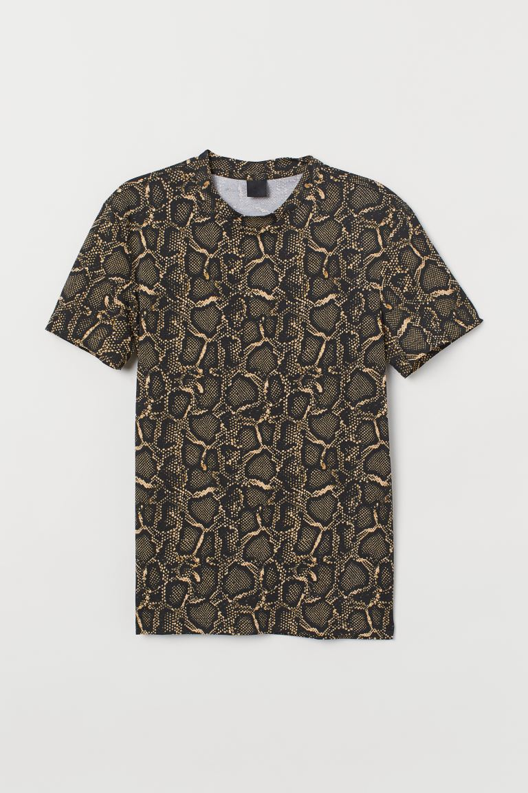 Patterned T-shirt - Black/Snakeskin-patterned - Men | H&M GB