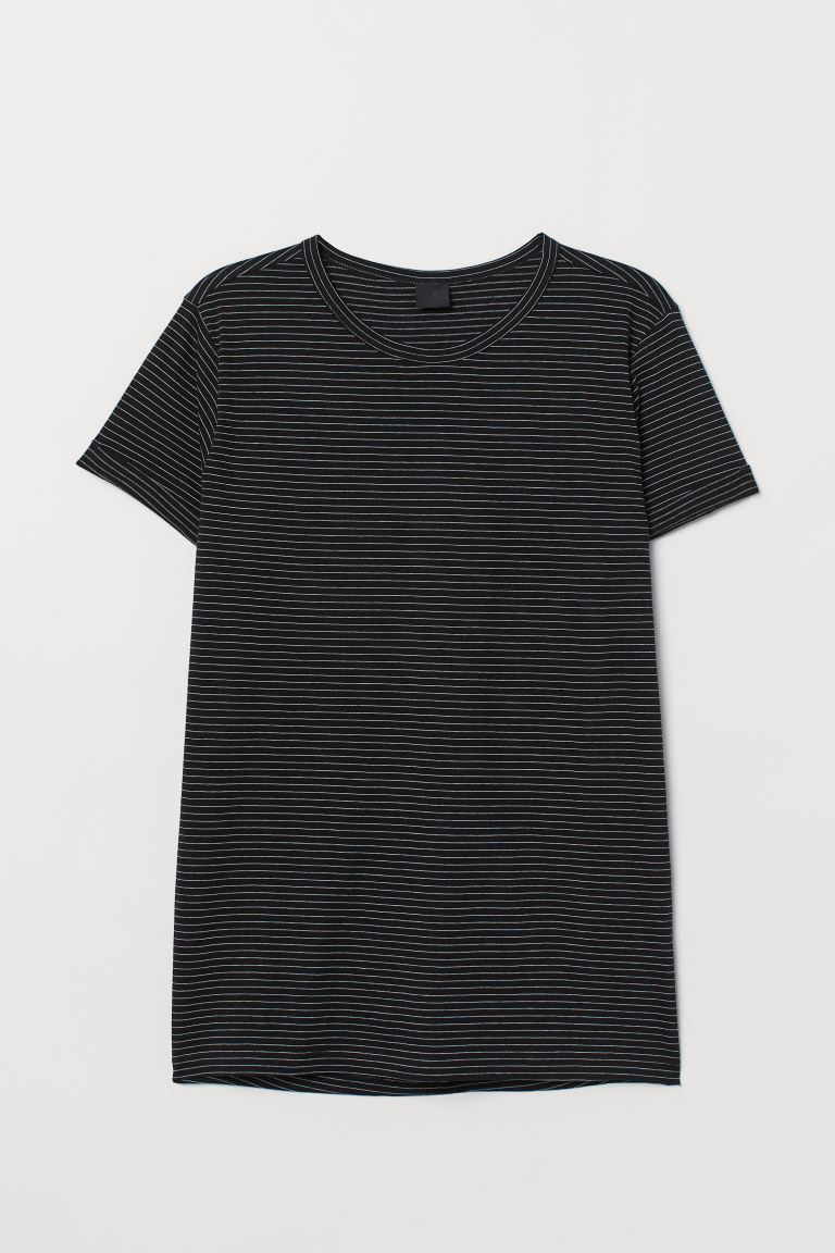 Slub Jersey T-shirt - Black/white striped - Men | H&M CA