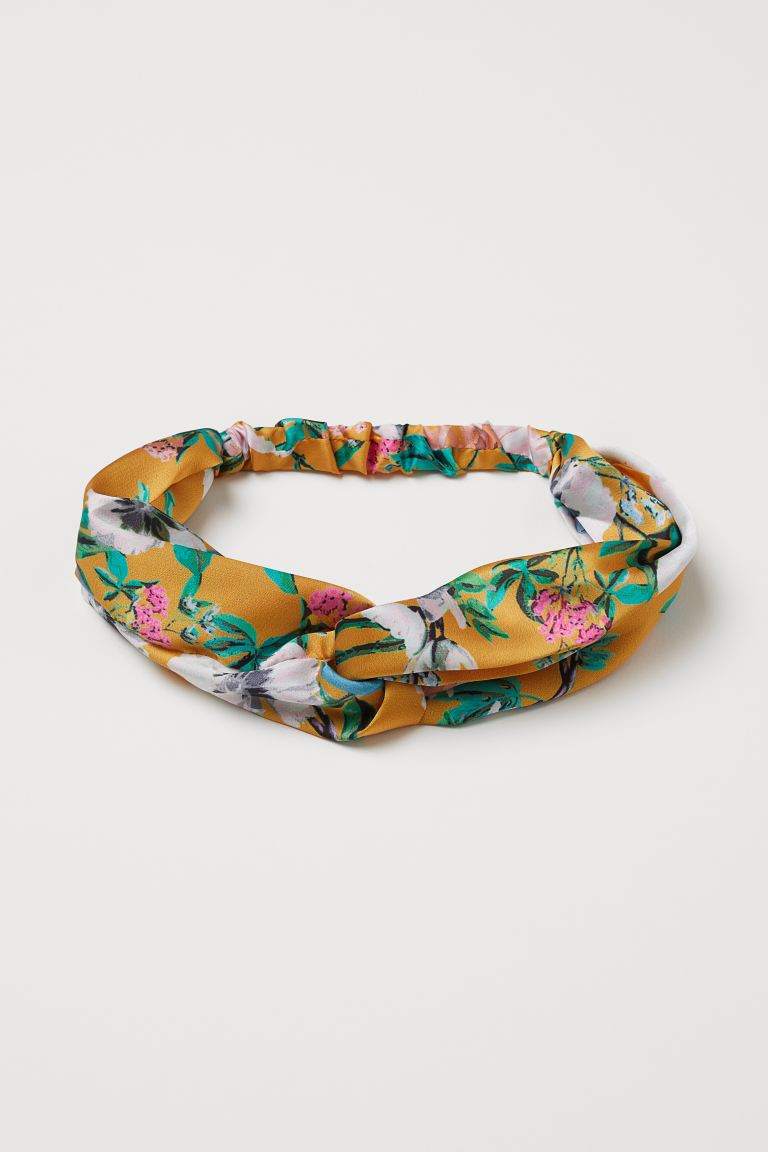 Hairband with Knot Detail - Mustard yellow/floral - Ladies | H&M US