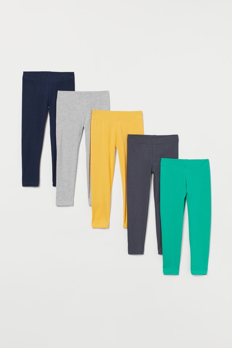 5-pack leggings i bomull - Grønn/Grå/Gul - BARN | H&M NO