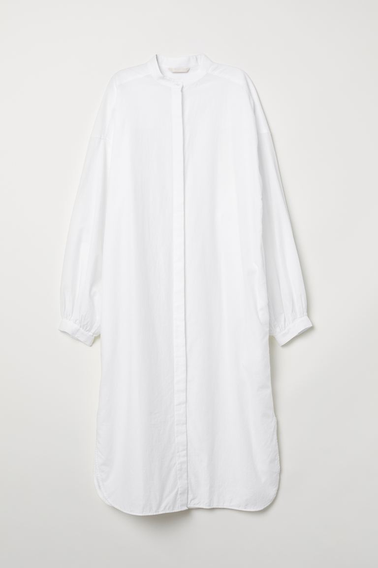 Long cotton shirt - White - Ladies | H&M GB