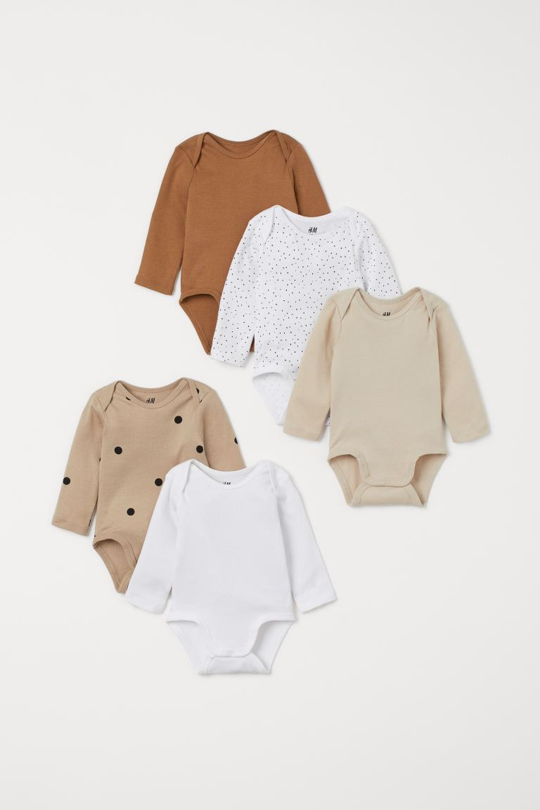 5-pack long-sleeved bodysuits - Dark beige/Spotted - Kids | H&M GB