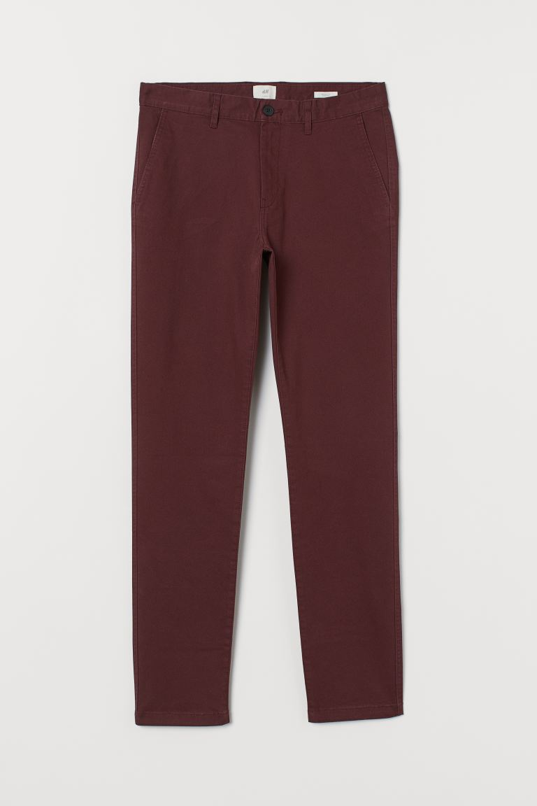 Katoenen chino - Skinny Fit - Bordeauxrood - HEREN | H&M NL