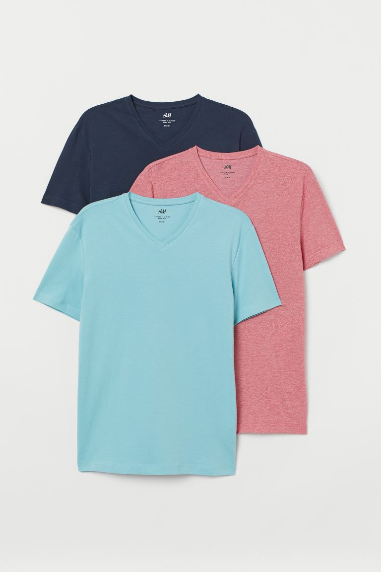3-pack T-shirts Slim Fit - Turquoise/Red/Blue - Men | H&M GB