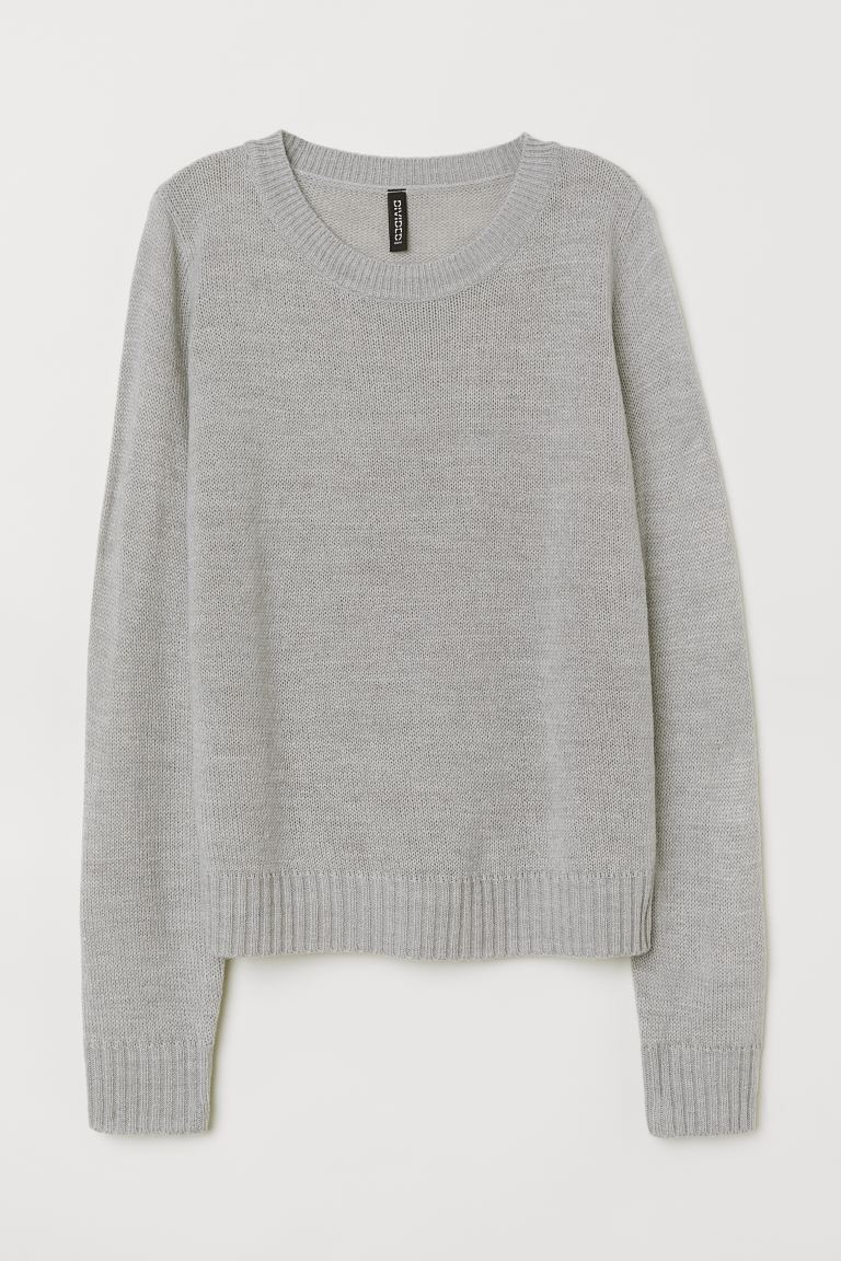 Knitted jumper - Light grey - Ladies | H&M GB