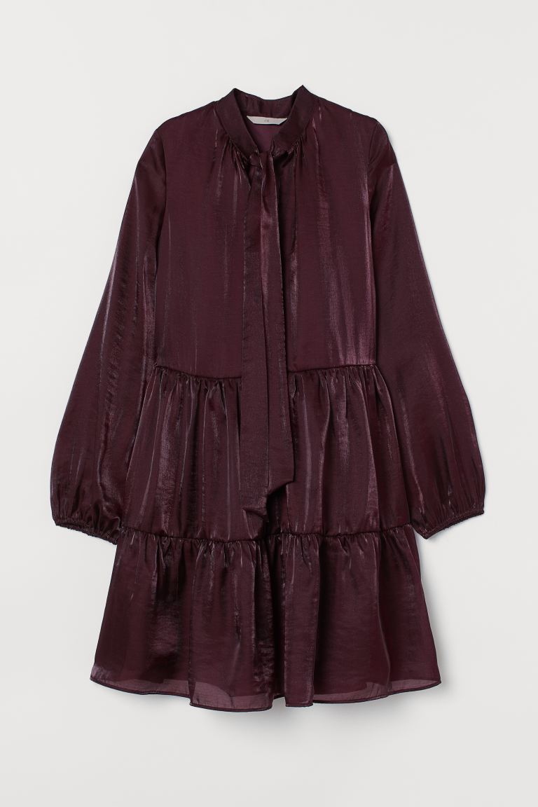 Tie-collar dress - Burgundy - Ladies | H&M GB
