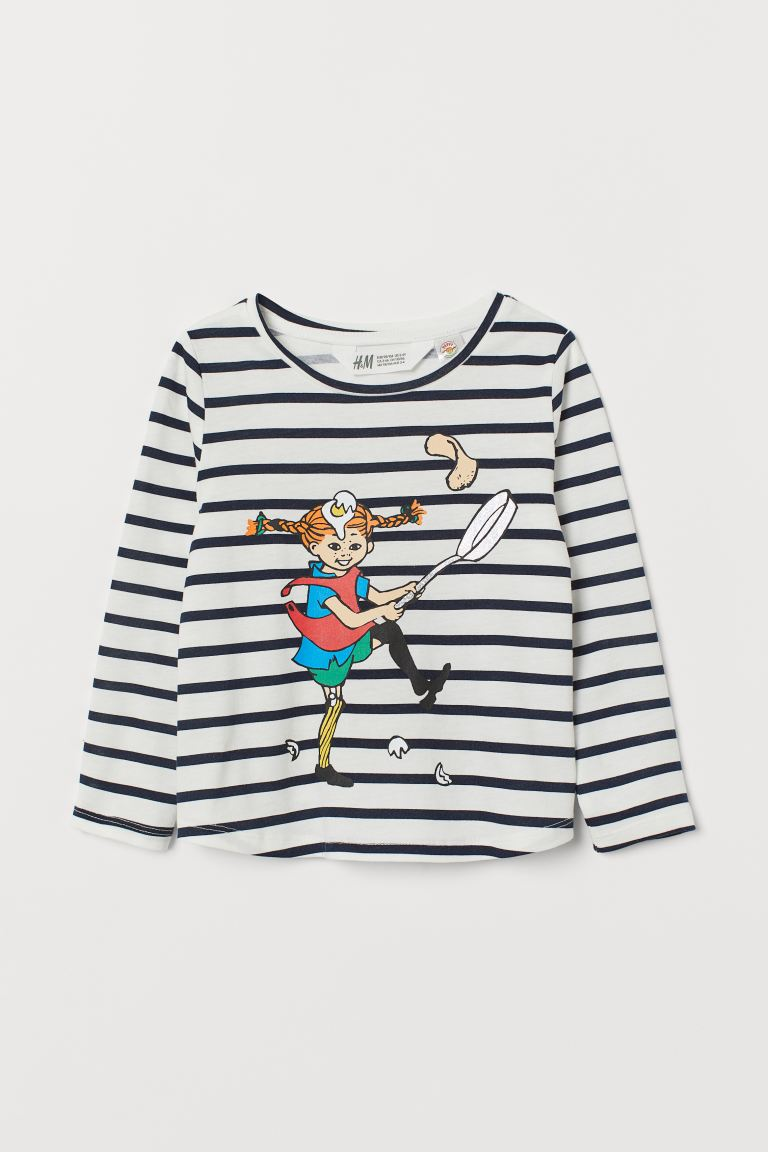 Jersey Top with Motif - White/Pippi Longstocking - Kids | H&M US