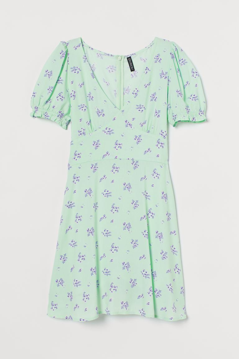 Patterned dress - Mint green/Floral - Ladies | H&M