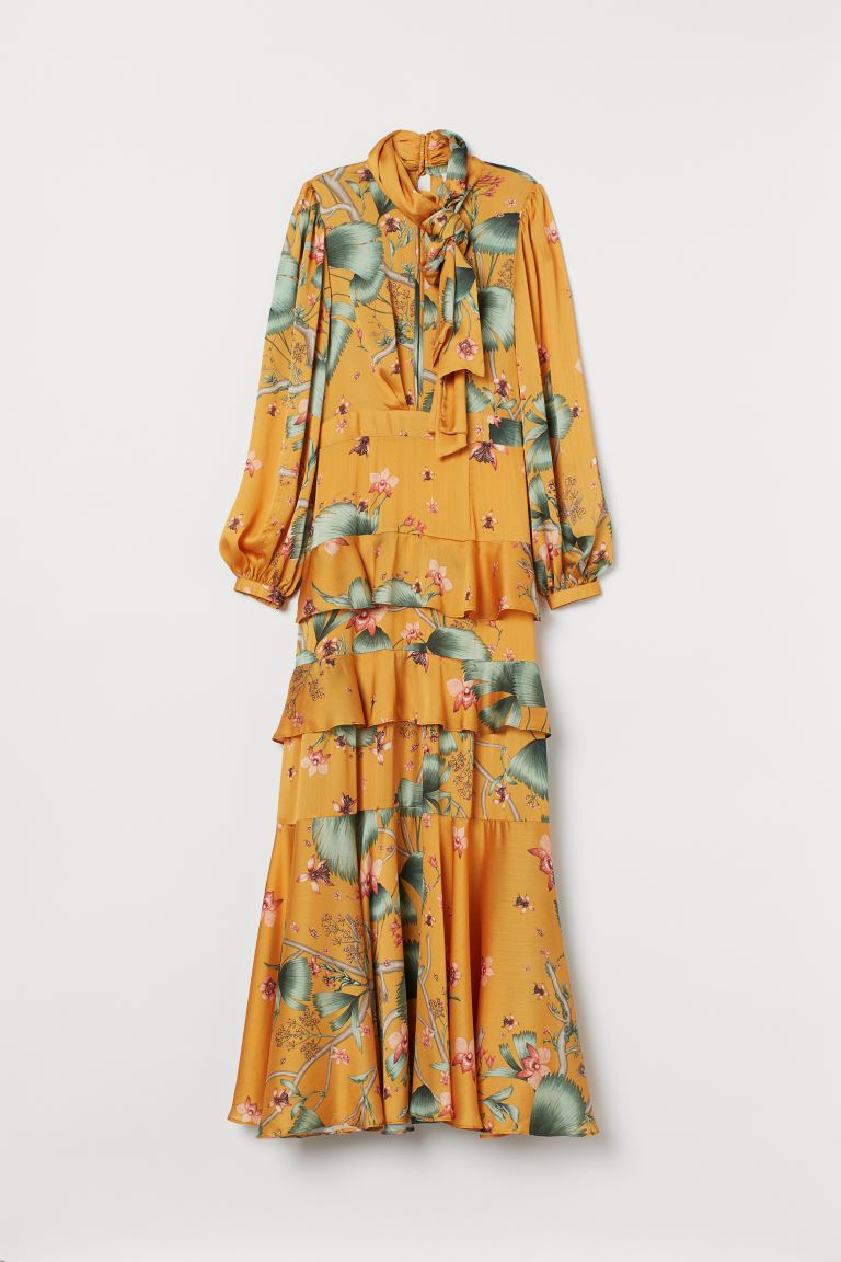 Long dress with a scarf collar - Dark yellow/Patterned - Ladies | H&M IE