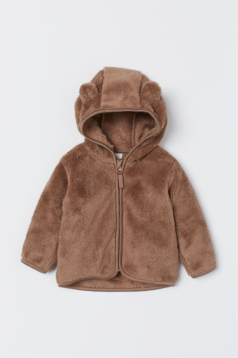 Faux shearling Hooded Jacket - Brown - Kids | H&M US