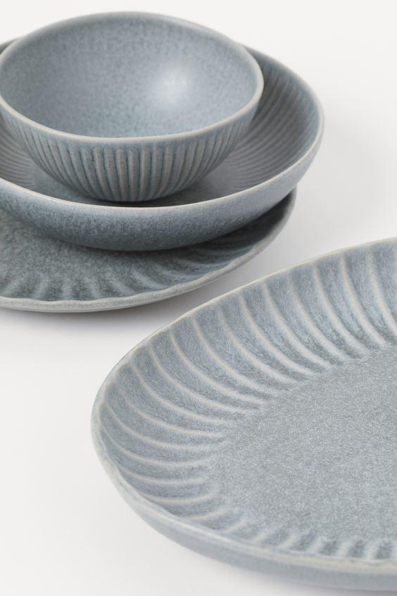 Ceramic Serving Dish - Gray-blue - | H&M US 2