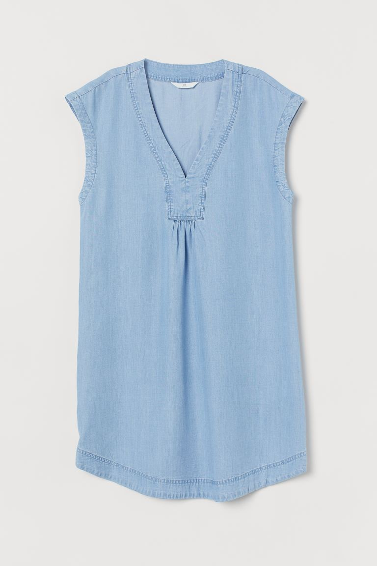 Short Lyocell Dress - Light denim blue - Ladies | H&M US