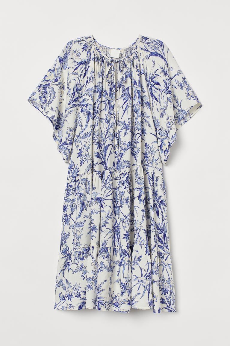 A-line Dress - Cream/blue patterned - Ladies | H&M US. #dresses #summerdress #blueandwhite #fashion