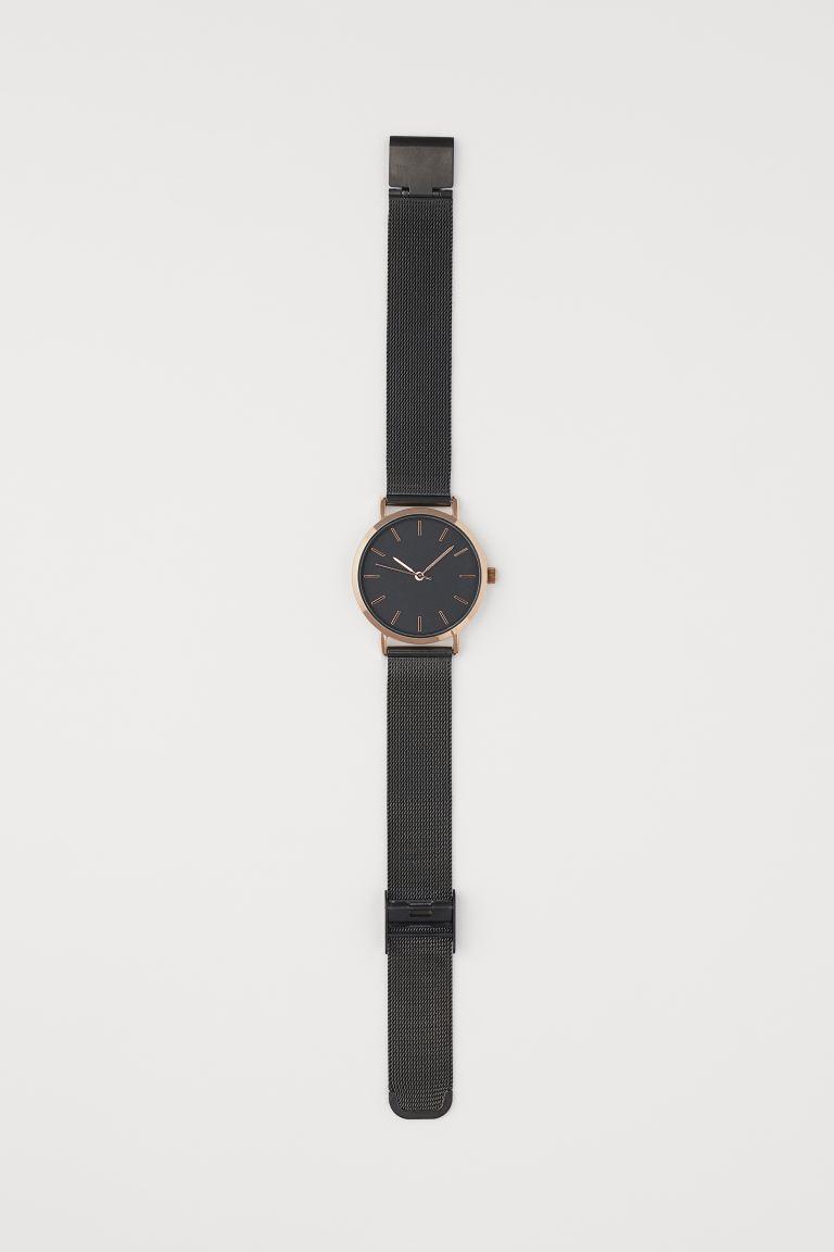 Metal Wristwatch - Black/rose gold-colored - Ladies | H&M US