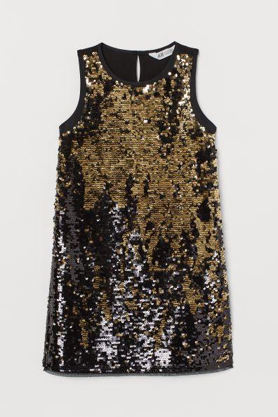 Платье с блестками-черный / золотой цвет-Kids / H & M DE 2