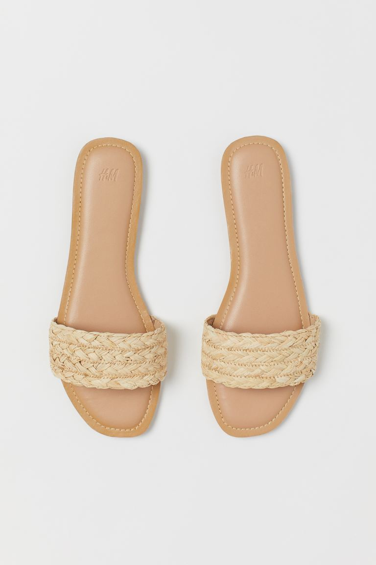 Slides - Light beige/straw - Ladies | H&M. #summersandals #slides #shoes