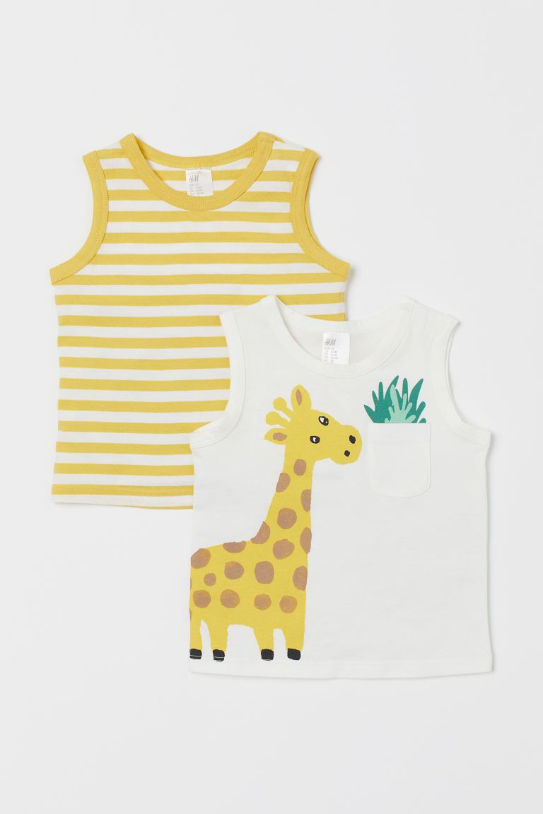 Süßer 2er-Pack Baumwoll-Tanktops mit Giraffe