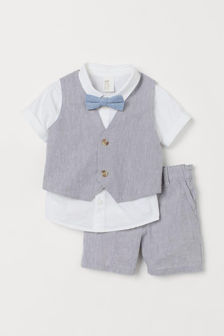 4-teiliger Taufanzug mit Weste und Fliege von H&M