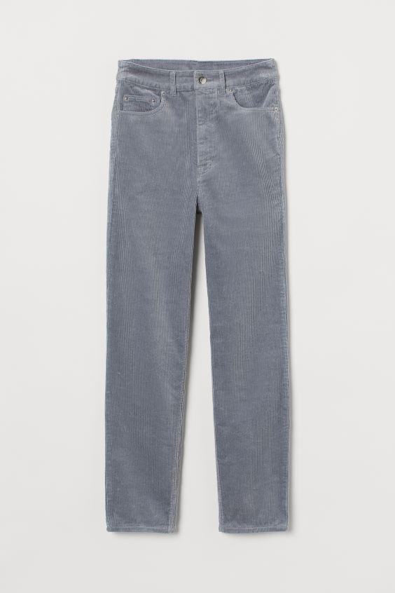 Corduroy Pants - Light gray - Ladies | H&M US 4