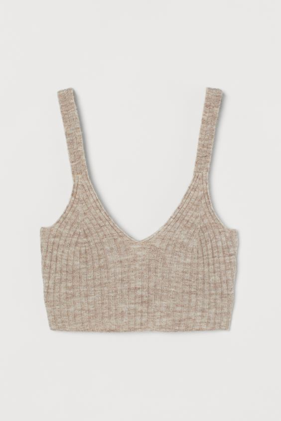 Ribbed Wool Cropped Top